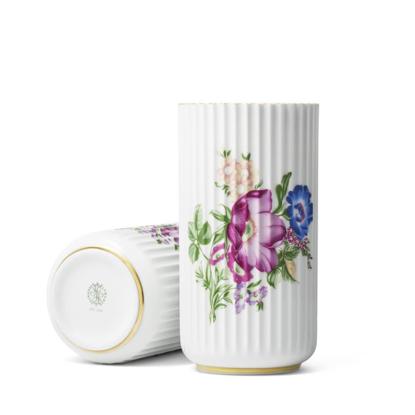 Billede af Lyngby Vase med blomster og guldkant, 20cm