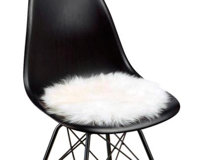Billede af Rundt hvidt lammeskindssæde