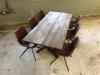 Billede af Claes spisebordssæt med 6 stk Ventus Down stole i kastanje PU læder