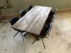 Billede af Claes spisebordssæt med 6 stk Ventus Rondo stole i sort/brun PU læder