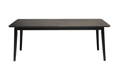 Billede af Dan-Form spisebord med sorte ben og sten laminat inkl. Tillægsplader