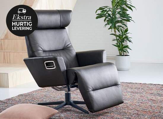 Billede af Relieve lænestol med indbygget fodskammel