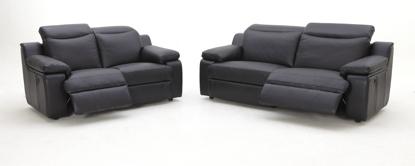 Billede af Kuka 1282 EL sofa m/indbygget skammel sort læder