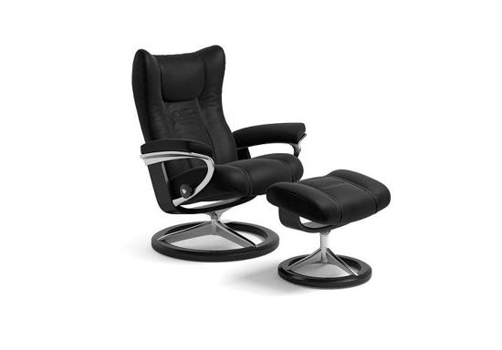 Billede af Stressless Wing medium lænestol med skammel