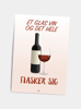 Billede af Et glas vin, A5 Kort