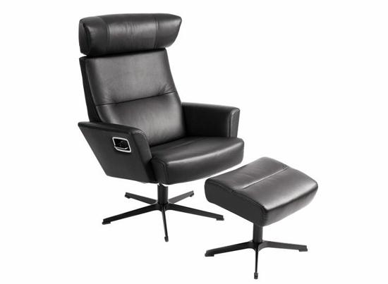 Billede af Relieve lænestol og fodskammel sort