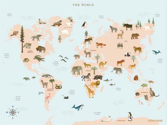 Billede af Verdenskort med dyr, 50x70cm