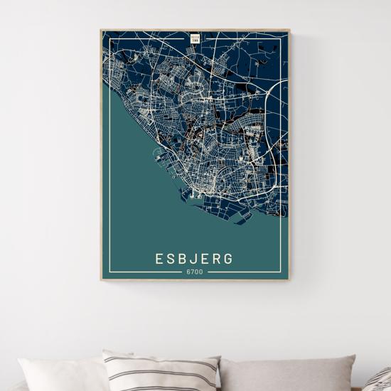 Billede af Esbjerg 50x70 Blå