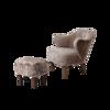 Billede af Ingeborg lænestol med skammel, Sahara fåreskind/røget eg